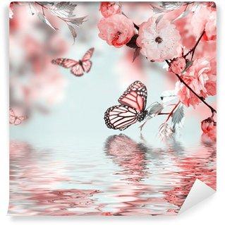 Fototapeta Vinylowa Różowy kwiat orientalny wiśni w i motyl