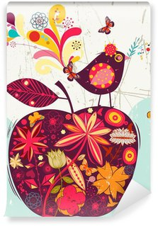 Vinylová Fototapeta Roztomilý jablko a pták