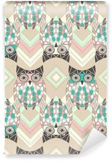 Vinylová Fototapeta Roztomilý owl bezešvé vzor s nativními prvky