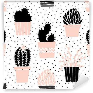 Vinylová Fototapeta Ručně kreslenými Cactus Pattern