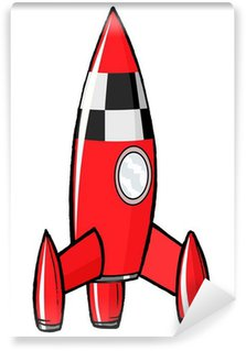 Vinylová Fototapeta Ručně malovaná, karikatura, vektorové ilustrace rakety hračky