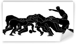 Vinylová Fototapeta Rugby scrum_full_black silhoutte
