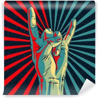 Vinylová Fototapeta Ruku v rock n roll znamení, vektorové ilustrace eps10.
