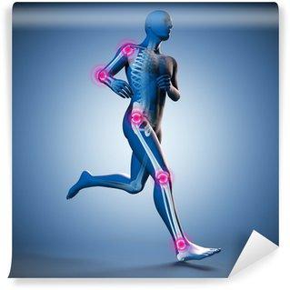 Vinylová Fototapeta Running Man siluetu skeletu a kloubů bolesti