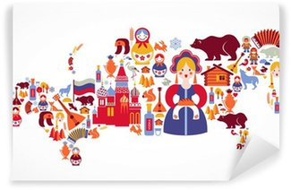 Vinylová Fototapeta Rusko mapa vektorových ikon