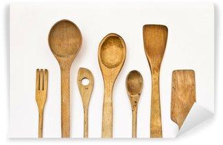 Vinylová Fototapeta Různé kuchyňské dřevěné nádobí na bílém pozadí