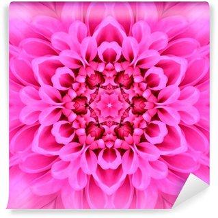 Vinylová Fototapeta Růžová Soustředné Flower Center Mandala Kaleidoscope