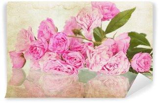 Vinylová Fototapeta Růžové růže na vinobraní pozadí