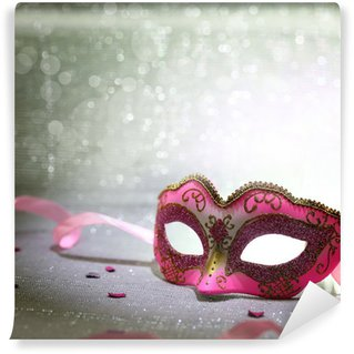 Vinylová Fototapeta Růžový karnevalová maska s třpytivé pozadí