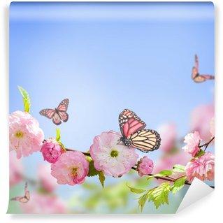 Vinylová Fototapeta Růžový květ na orientální třešně a motýl;