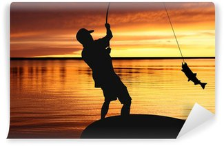 Vinylová Fototapeta Rybář se lov ryb na východ slunce pozadí