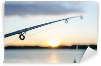 Vinylová Fototapeta Rybaření na jezeře před západem slunce