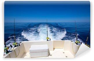 Vinylová Fototapeta Rybářská loď na zádi paluby s vlečnými šňůrami rybářských prutů a navijáků