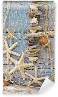 Vinylová Fototapeta Rybářská síť s Flotsam, hvězdice a mušle