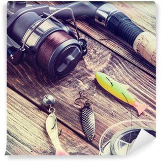 Vinylová Fototapeta Rybářské potřeby na dřevěný stůl