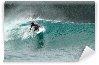 Vinylová Fototapeta Rychlost surfař na tropické zelené vlně