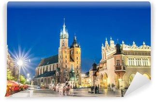 Vinylová Fototapeta Rynek Główny - Hlavní náměstí v Krakově v Polsku