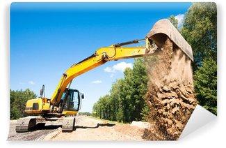 Vinylová Fototapeta Rypadlo vykládání písku při silničních stavebních prací