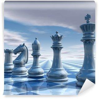 Vinylová Fototapeta Šachy neskutečný pozadí s oblohou a šachovnice ilustrace
