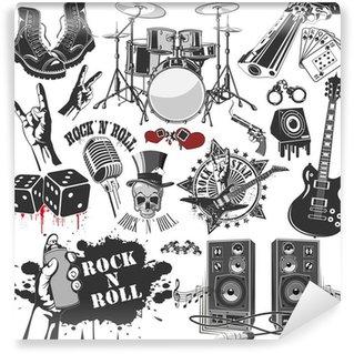 Vinylová Fototapeta Sada vektorových symbolů spojených s rock and rollu