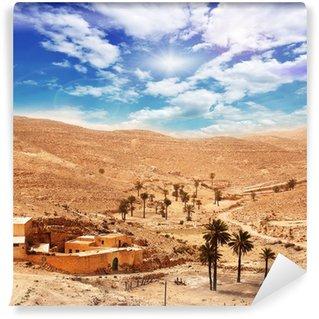Vinylová Fototapeta Sahara: Dorf in der Sandwüste