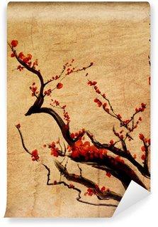 Vinylová Fototapeta Sakura, třešňové květy švestka Čínská malba