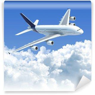 Fototapeta Winylowa Samolot lecący nad chmurami z wycinek ścieżki do izolacji