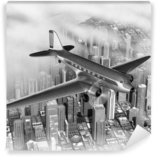 Fototapeta Winylowa Samolot nad miastem