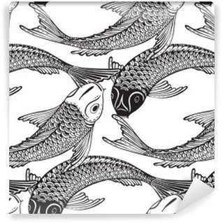 Fototapeta Samoprzylepna Wektor bez szwu wzór z ręcznie rysowane Koi ryb