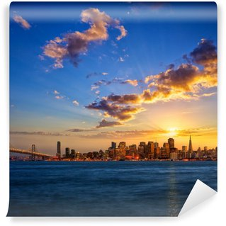 Vinylová Fototapeta San Francisco skyline při západu slunce, Kalifornie, USA