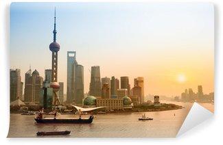 Vinylová Fototapeta Šanghaj skyline za soumraku