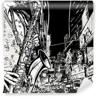 Vinylová Fototapeta Saxofonista hraje na saxofon v ulici