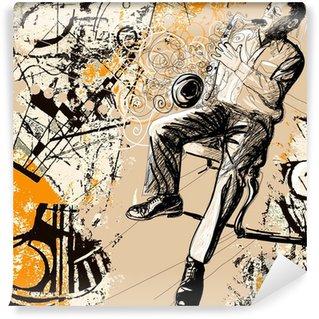 Vinylová Fototapeta Saxofonista na grunge pozadí