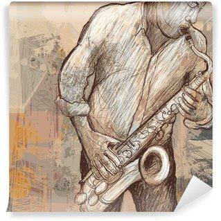 Vinylová Fototapeta Saxofonista saxofon na pozadí grunge