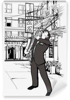 Vinylová Fototapeta Saxofonista v ulici v noci