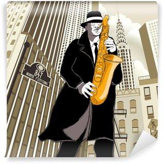 Vinylová Fototapeta Saxofonista v ulici