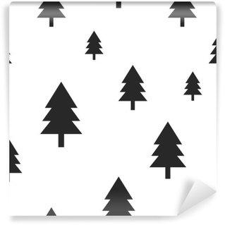 Vinylová Fototapeta Scandinavian černý les strom na bílém vektoru bezešvé vzor. Jednoduchý a moderní design pro textilní tkaniny, papíru, zábal výtisků.