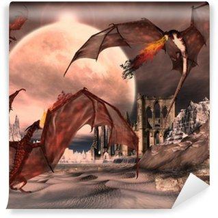 Fototapeta Winylowa Scena Fantasy Z Fighting Dragons