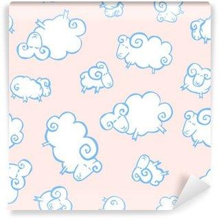 Vinylová Fototapeta Seamless dítě vzor - bílé ovce jako mraky na růžovém zázemí