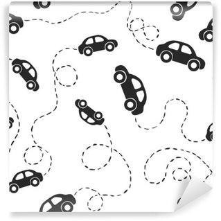 Vinylová Fototapeta Seamless pattern - automobily. Černé na bílém podkladu