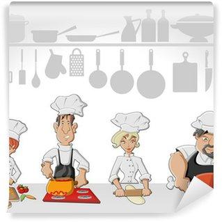 Vinylová Fototapeta Šéfkuchař tým vaření chutné jídlo v kuchyni restaurace