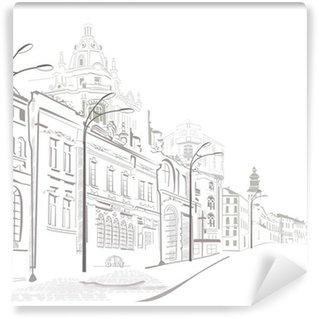 Vinylová Fototapeta Série náčrtků starých měst ulic