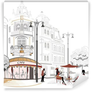 Vinylová Fototapeta Série pouliční kavárně ve skicách