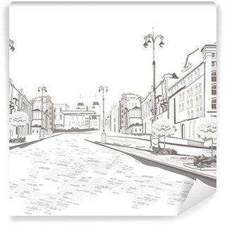 Vinylová Fototapeta Série výhledem do ulice ve starém městě, skica