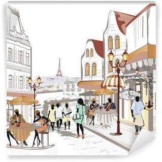 Vinylová Fototapeta Série výhledem do ulice ve starém městě