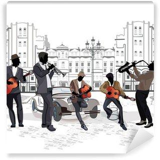 Vinylová Fototapeta Série výhledem na ulici s hudebníky
