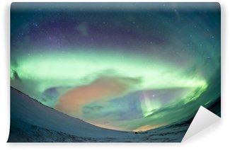 Vinylová Fototapeta Severní Švédsko - Northern Lights Aurora
