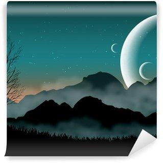 Vinylová Fototapeta SF prostor noční oblohy se siluetou hor a blízké planety