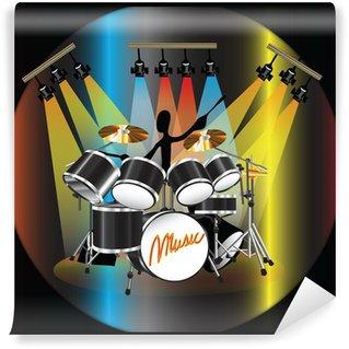 Vinylová Fototapeta Shadow Man hudebník hrát bicí