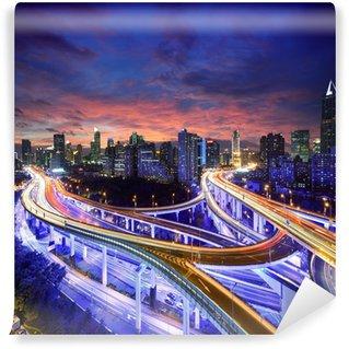 Vinylová Fototapeta Shanghai dálnice pohled na západ slunce